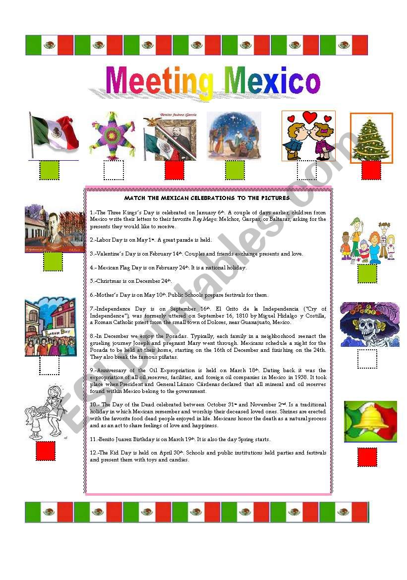 traditions in mexico esl worksheet by fortina99. Black Bedroom Furniture Sets. Home Design Ideas