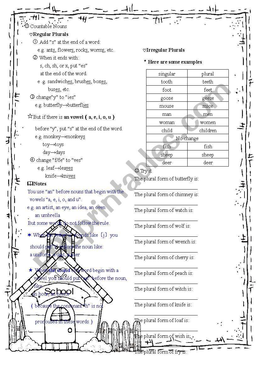 countable nouns worksheet