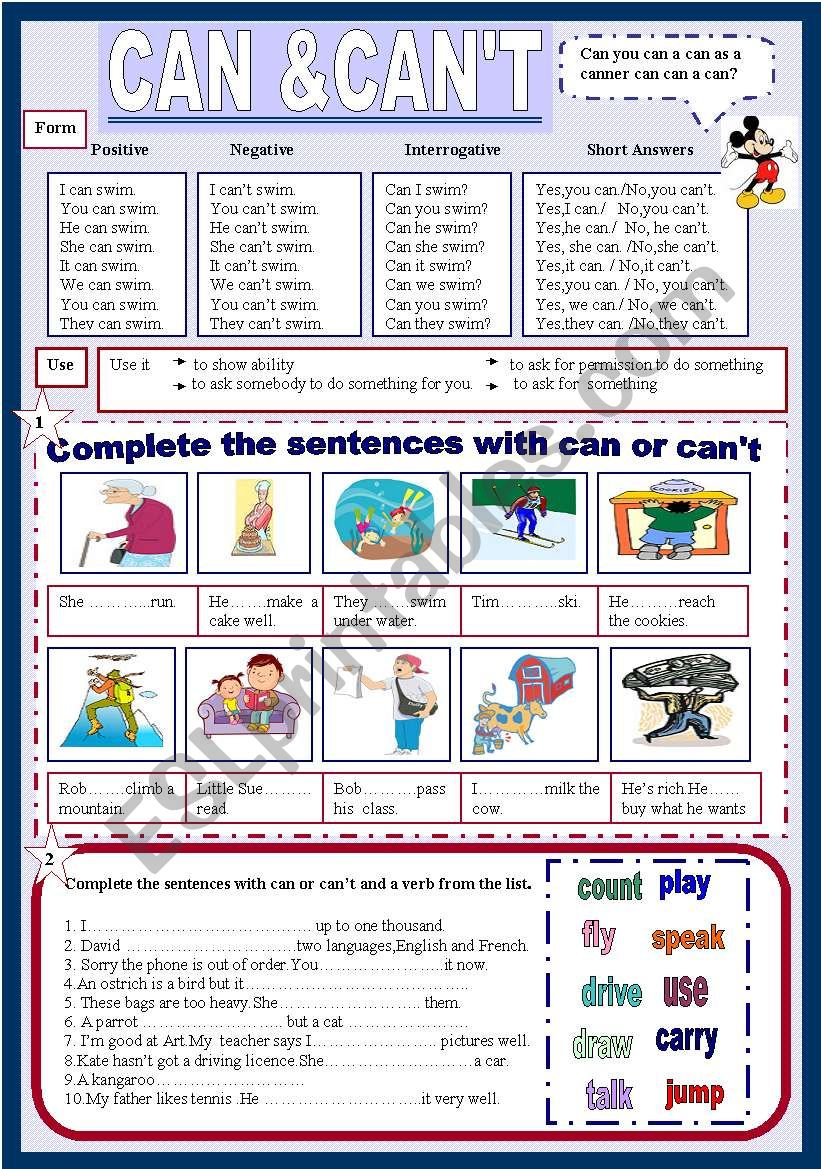 Can&Can´t (2 pages) worksheet