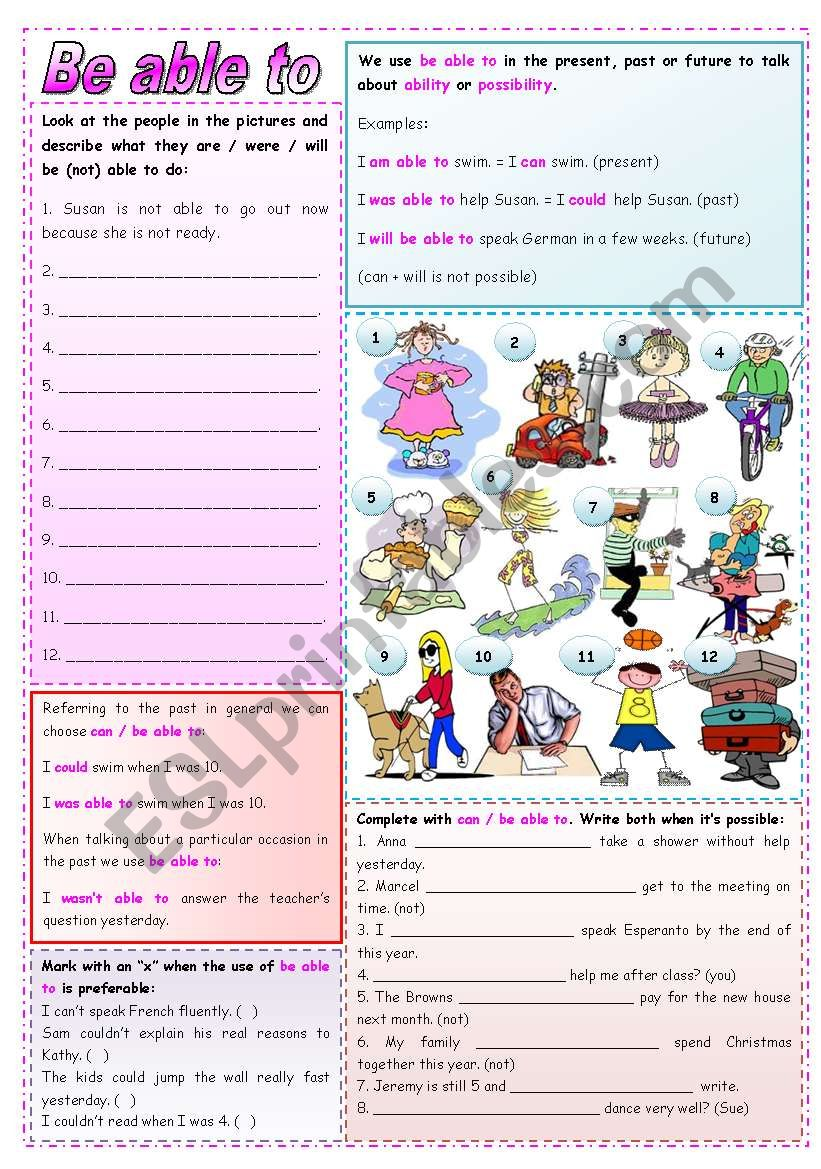 Be able to (grammar and exercises) **fully editable