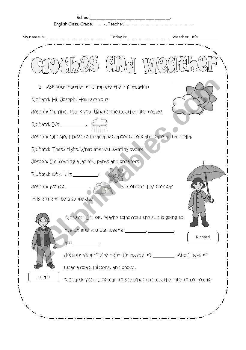 Clothes And Weather Esl Worksheet By Glor