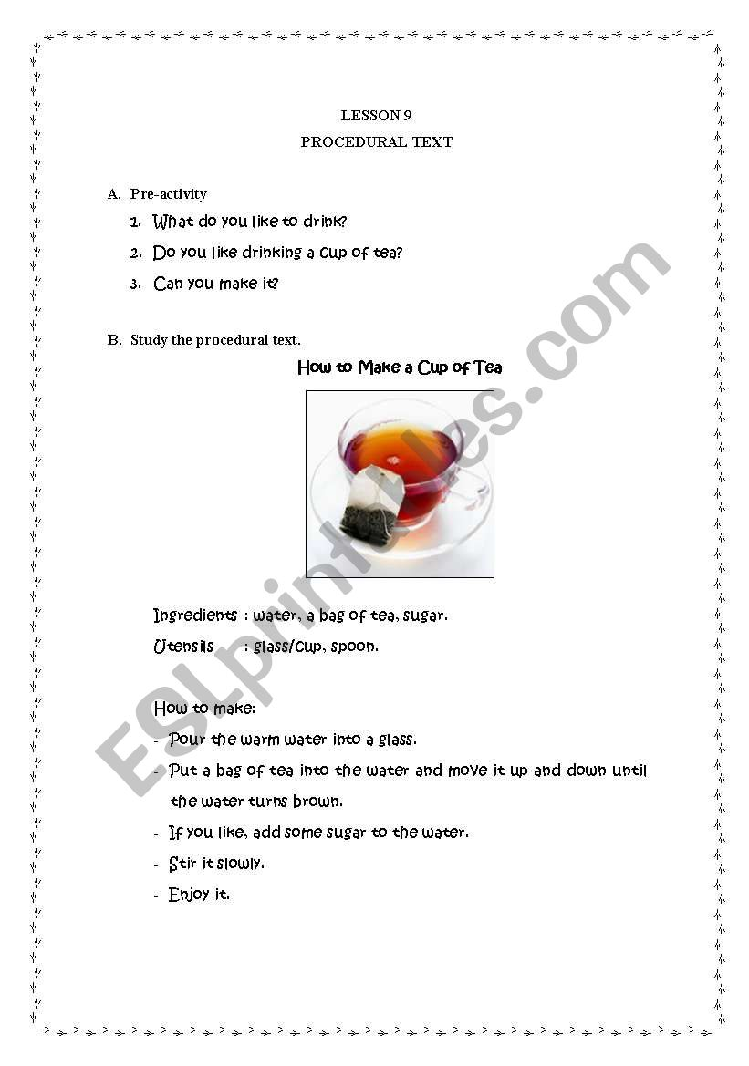 English Worksheets Procedural Text How To Make A Cup Of Tea