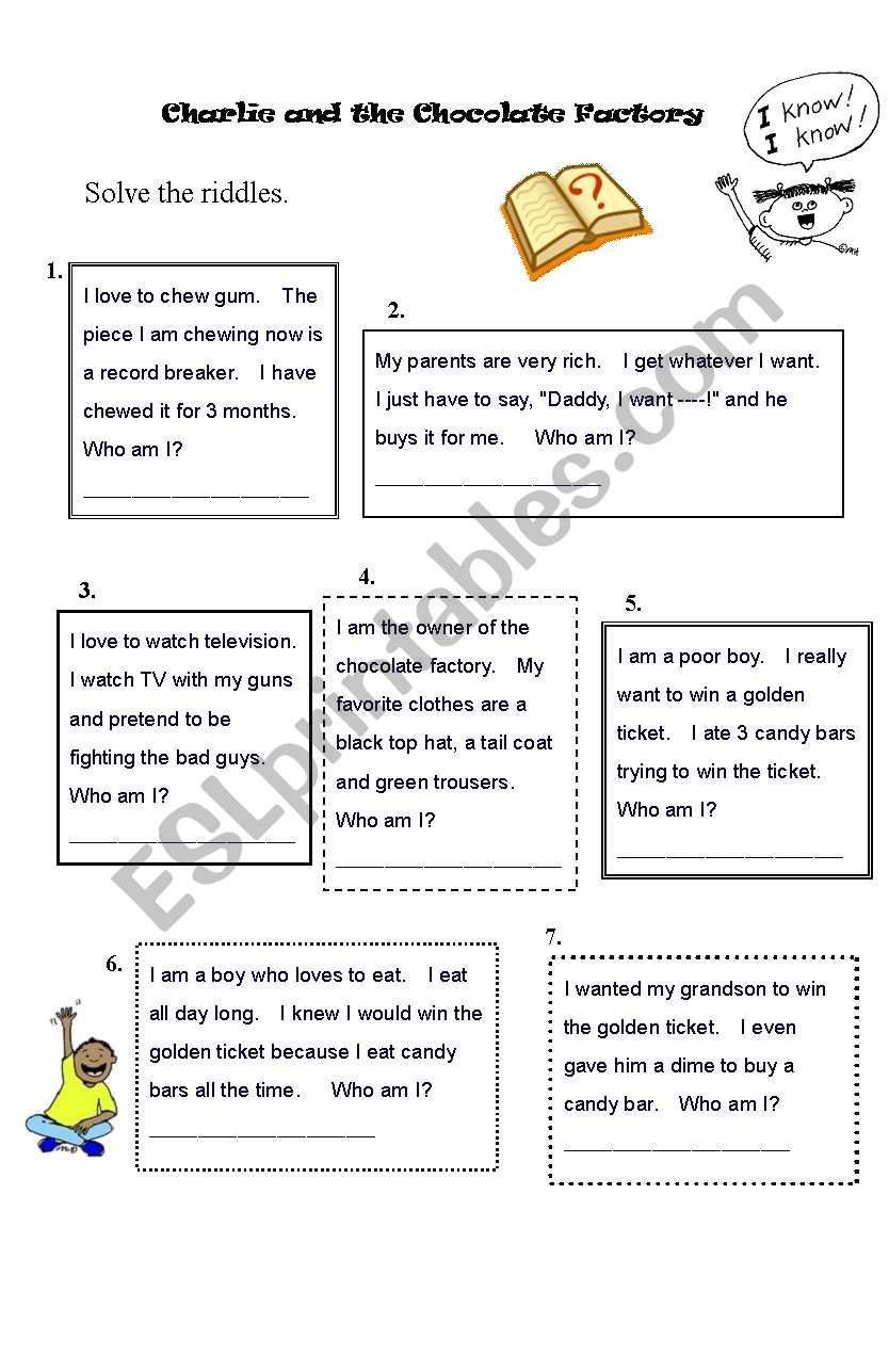 Charlie And The Chocolate Factory Worksheet Riddles Guess The