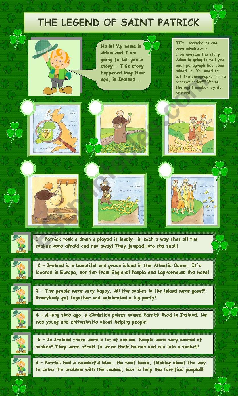The legend of Saint Patrick worksheet