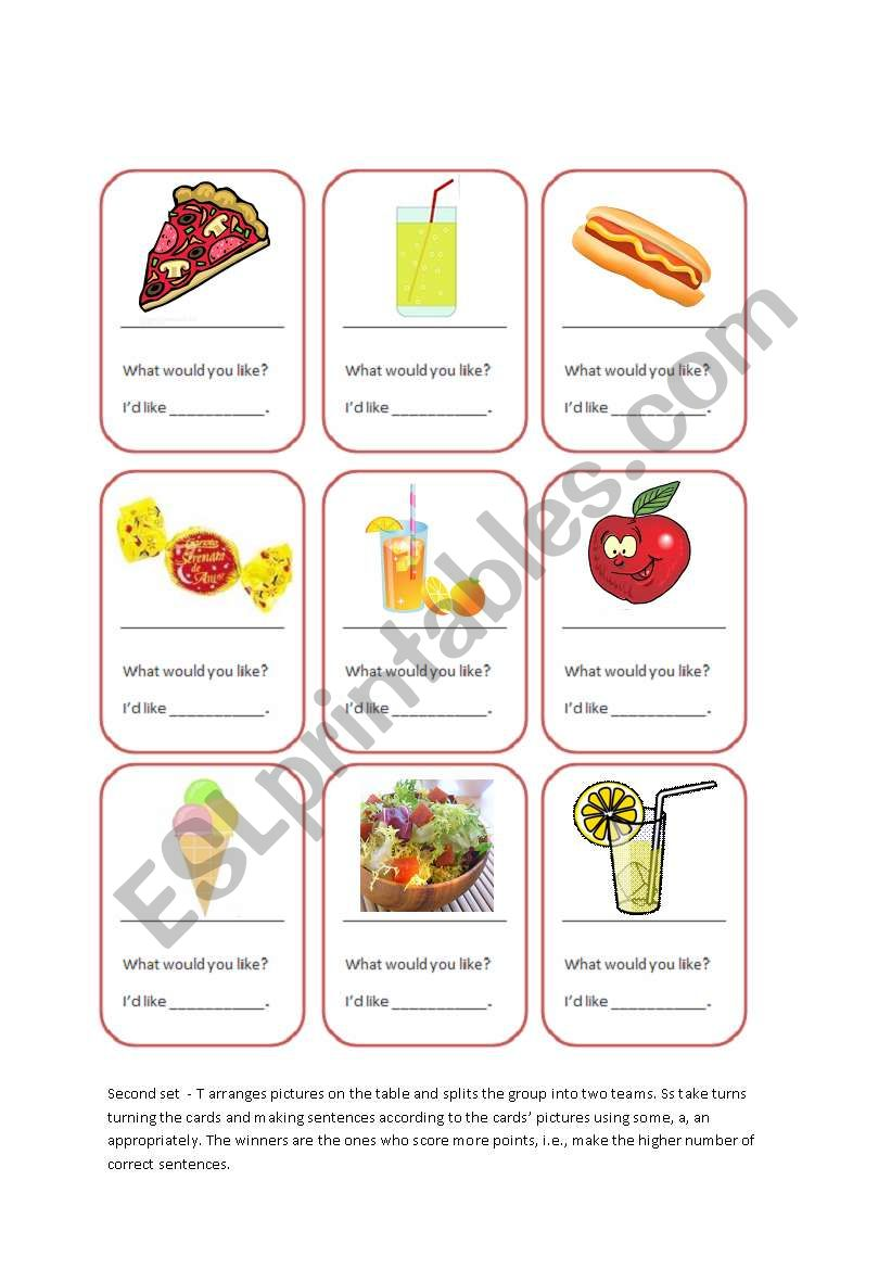 Food Cards Game_Some, a, an worksheet