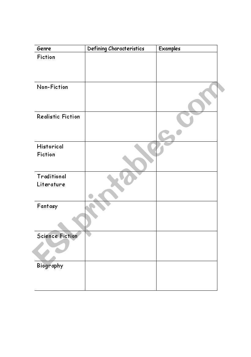 english worksheets genre worksheet. Black Bedroom Furniture Sets. Home Design Ideas
