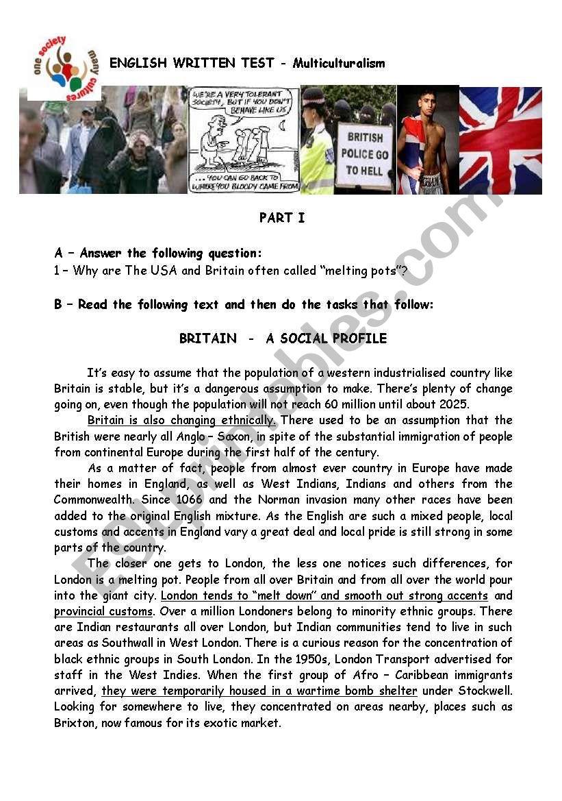 Multicultural Britain worksheet