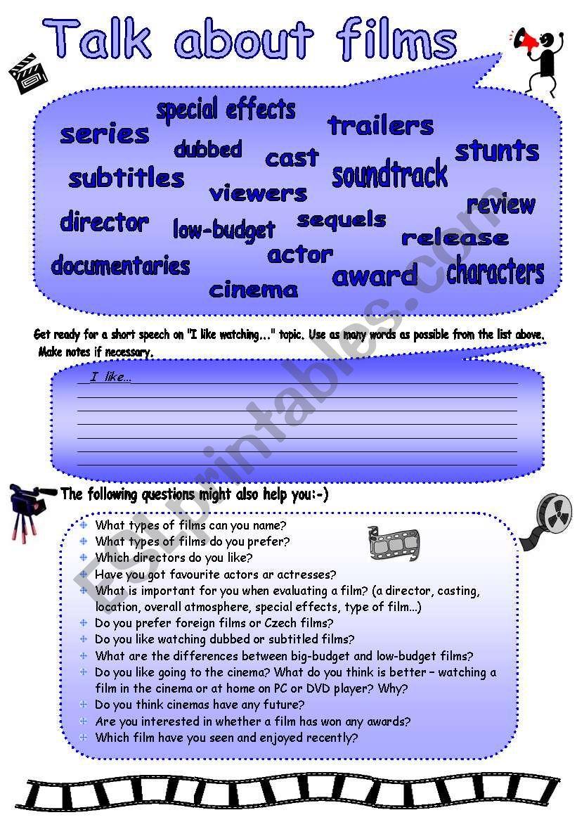 Talk about films! worksheet