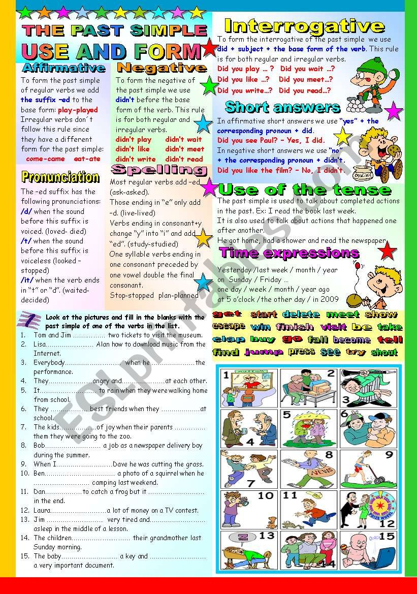 THE PAST SIMPLE TENSE - GRAMMAR AND EXERCISES - TWO PAGES ( B&W VERSION AND KEY INCLUDED)