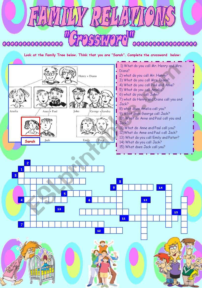 FAMILY RELATIONS (CROSSWORD) worksheet