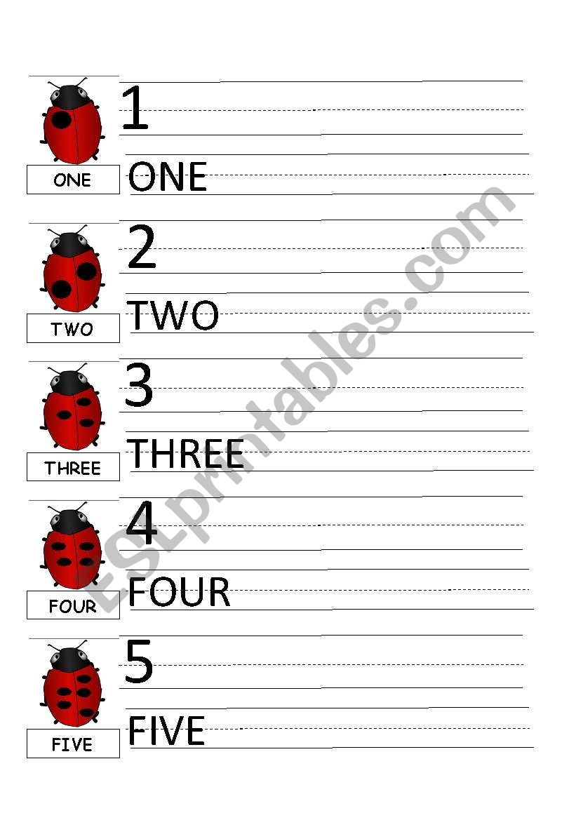LADYBUG (NUMBERS 1-5) worksheet