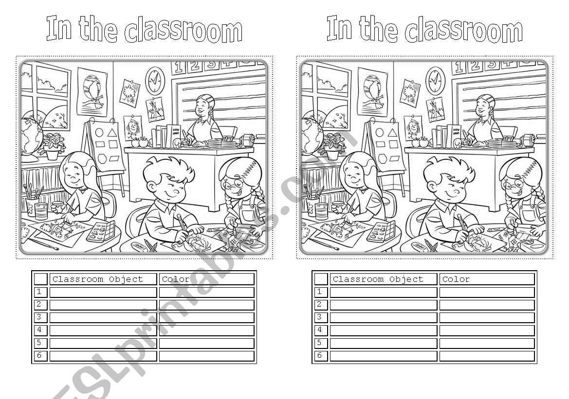 In the classroom worksheet