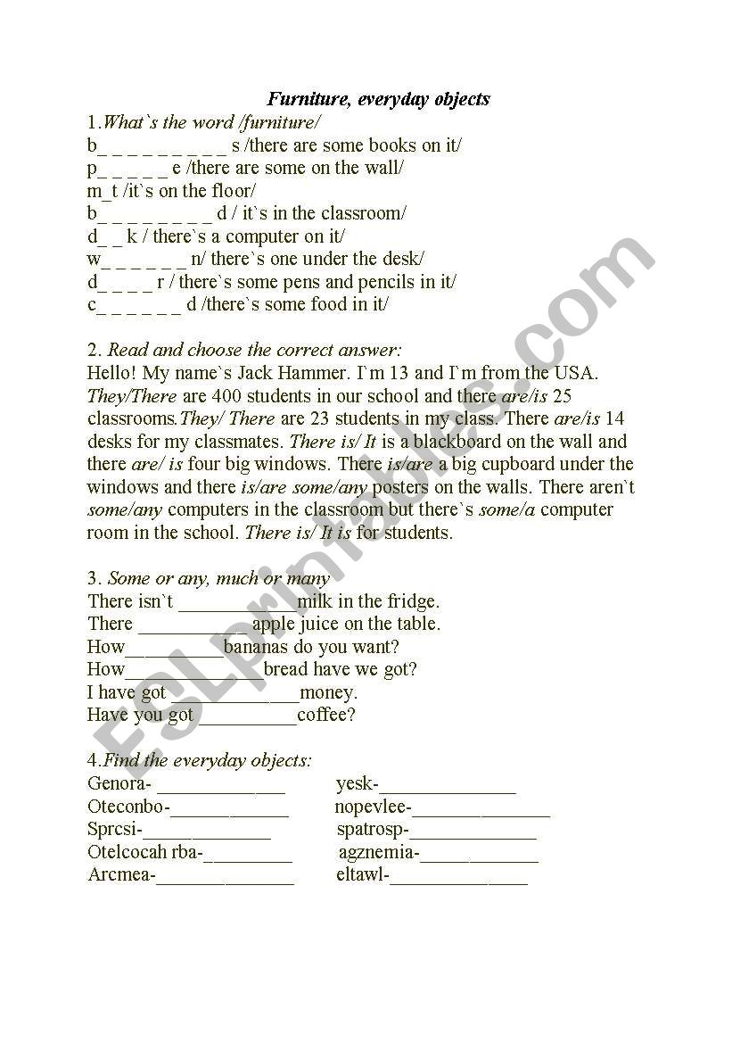 Furniture, everyday objects worksheet