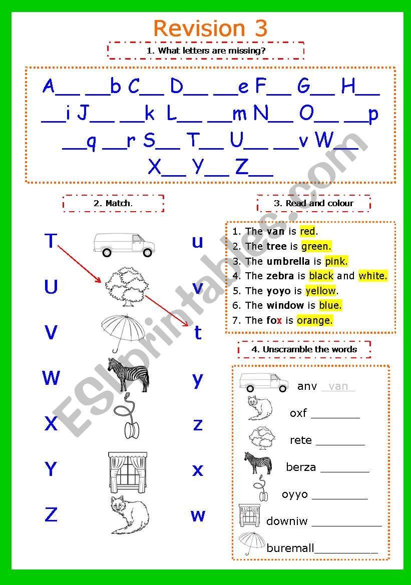 Writing letters. Revision 3. Letters Tt-Zz + colousr (2 pages) - ESL ...