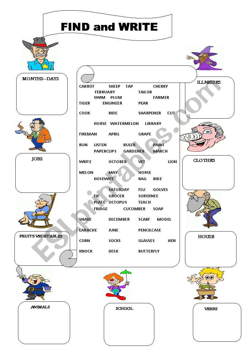 Find and Write vocabulary worksheet