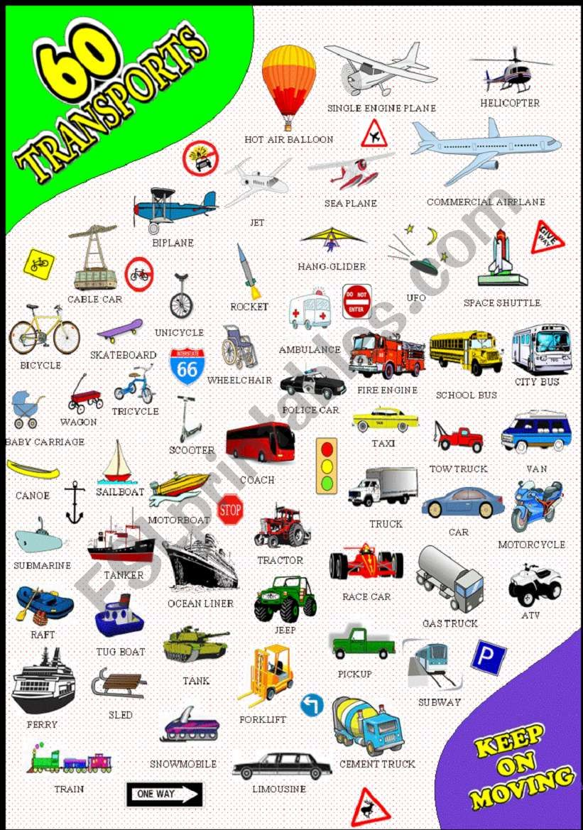 60 TRANSPORT PICTIONARY worksheet