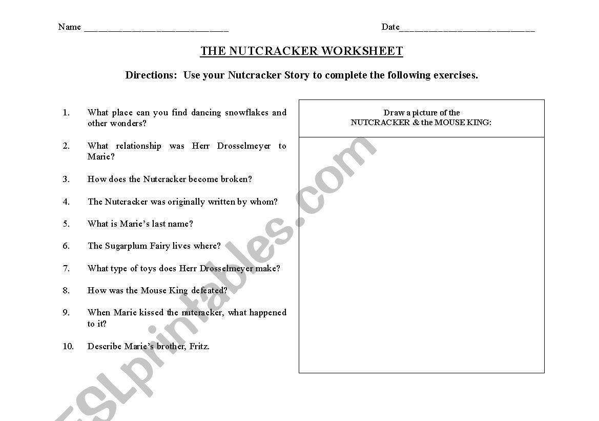 The Nutcracker Activity Worksheet