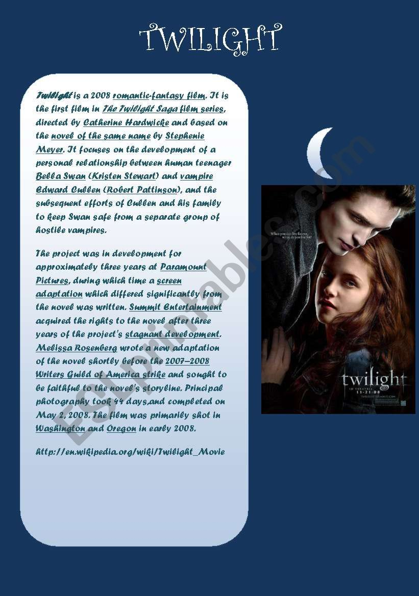 twilight reading passage worksheet