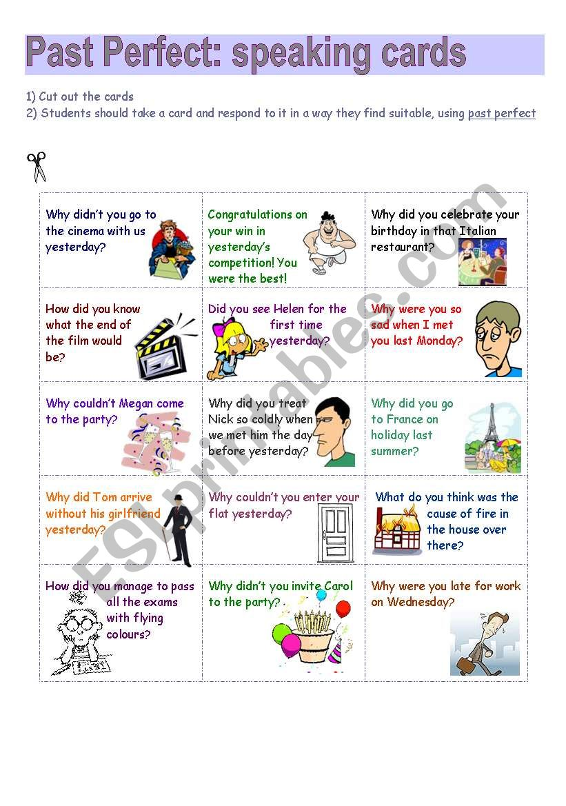 Past Perfect speaking cards worksheet