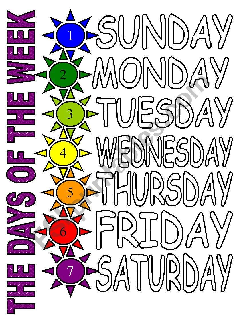 THE DAYS OF THE WEEK 2 (COLOUR) - ESL worksheet by sevim-6