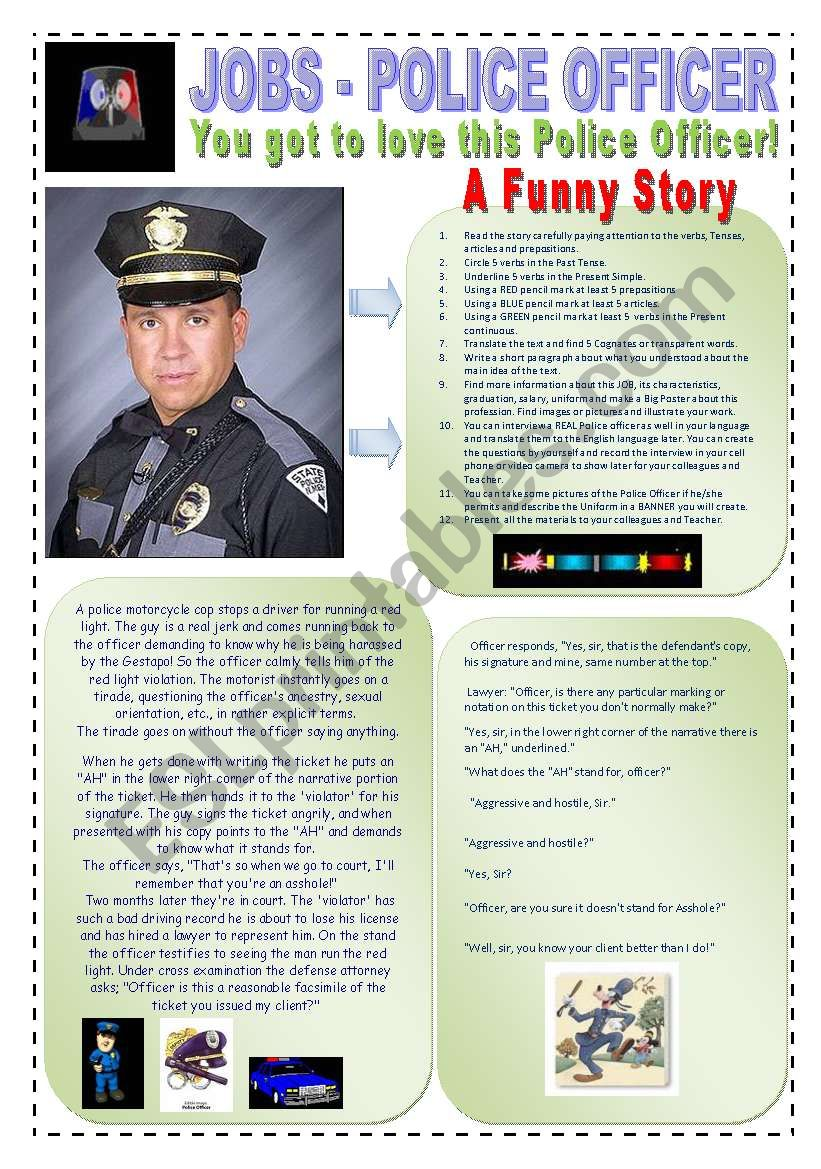 JOBS - A FUNNY POLICE OFFICER STORY - (2 Pages) - A traditional career, dangerous and full of excitements - 12 Reading & Writing Activities + 5 extra on a research