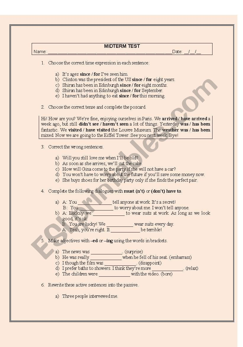 english worksheets  midterm test intermediate level