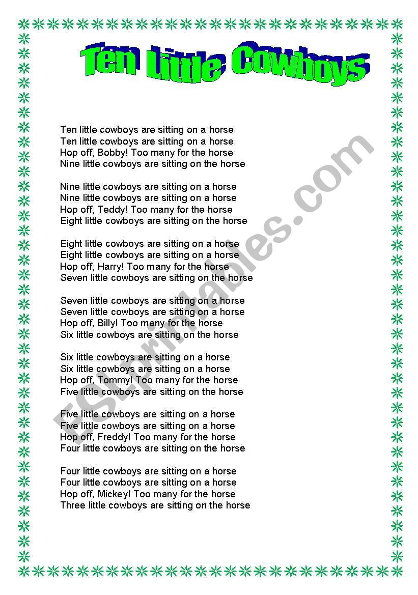 10 Little Cowboys worksheet
