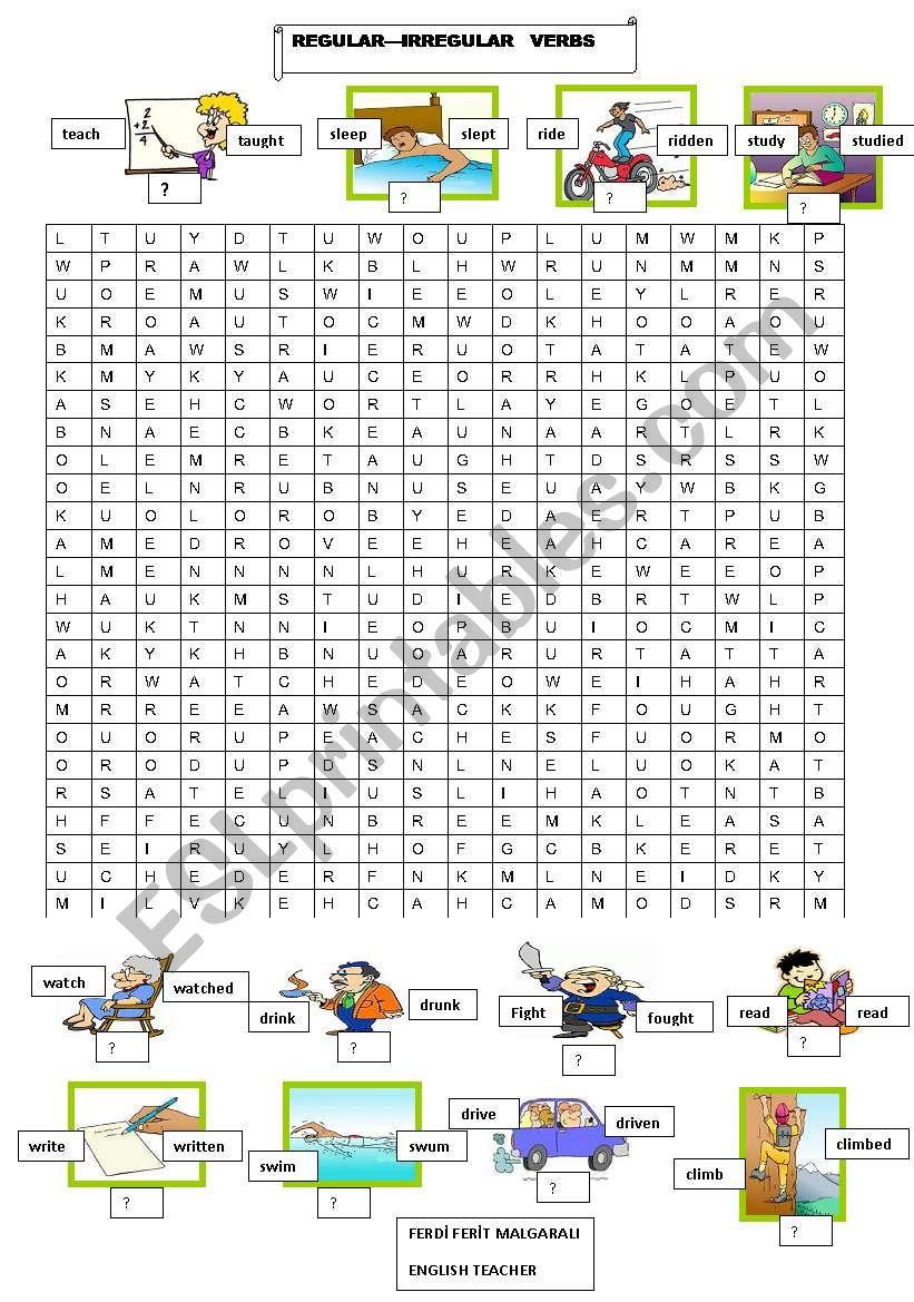 REGULAR IRREGULAR VERBS worksheet