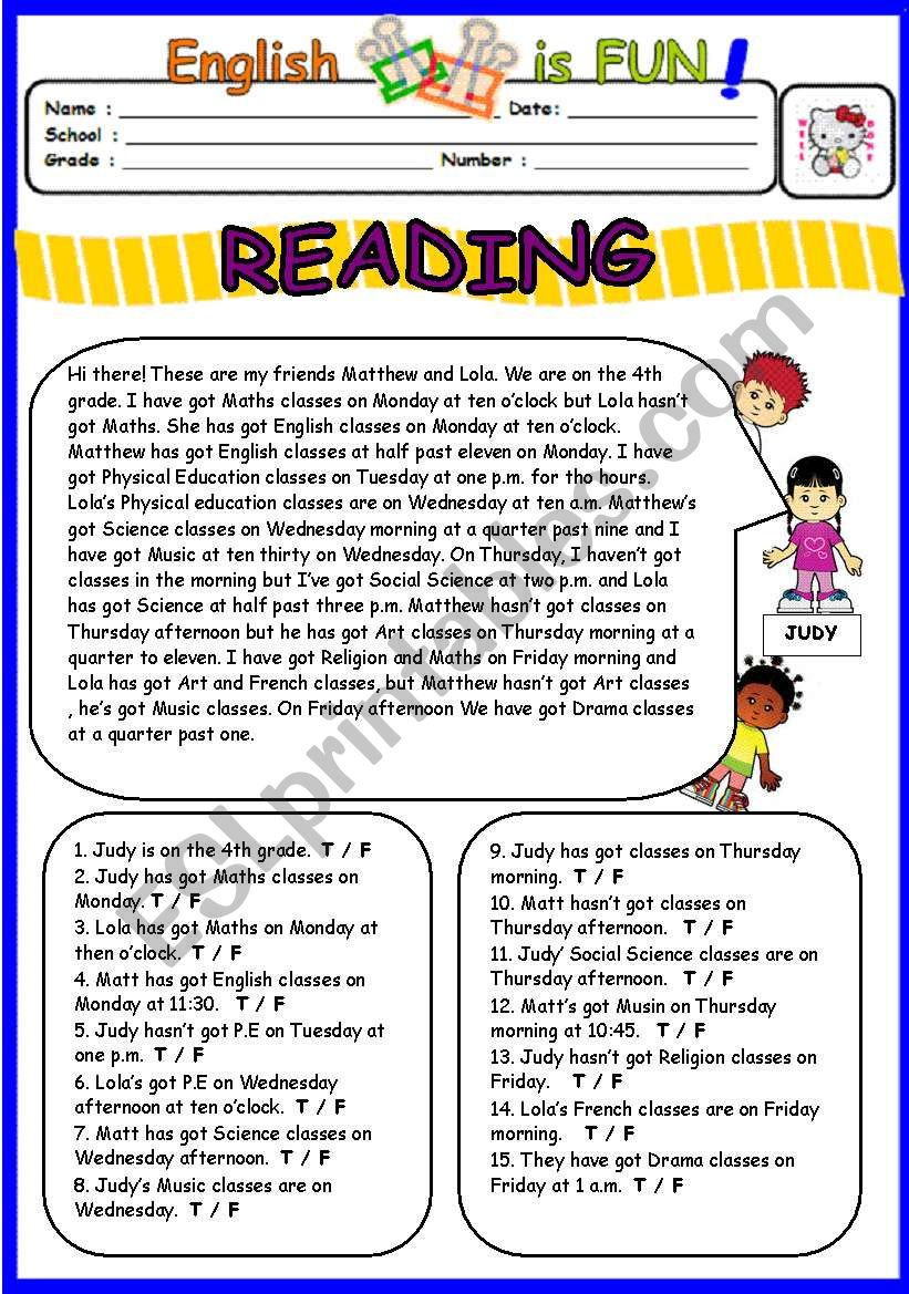 Reading on Schedule and Telling the time