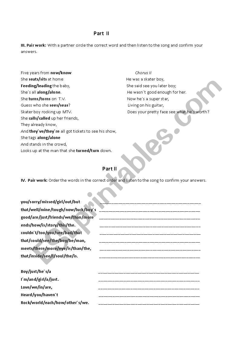 avril lavigne song skater boy worksheet