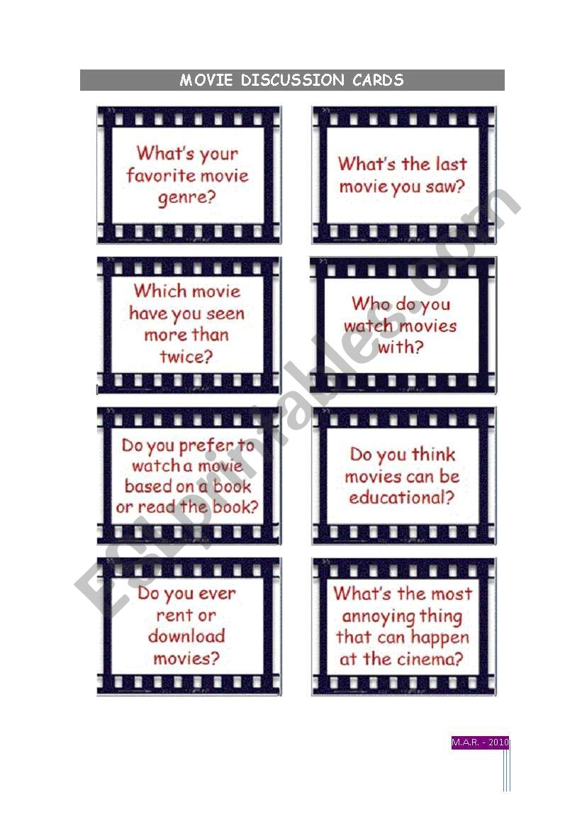 Movies discussion cards worksheet