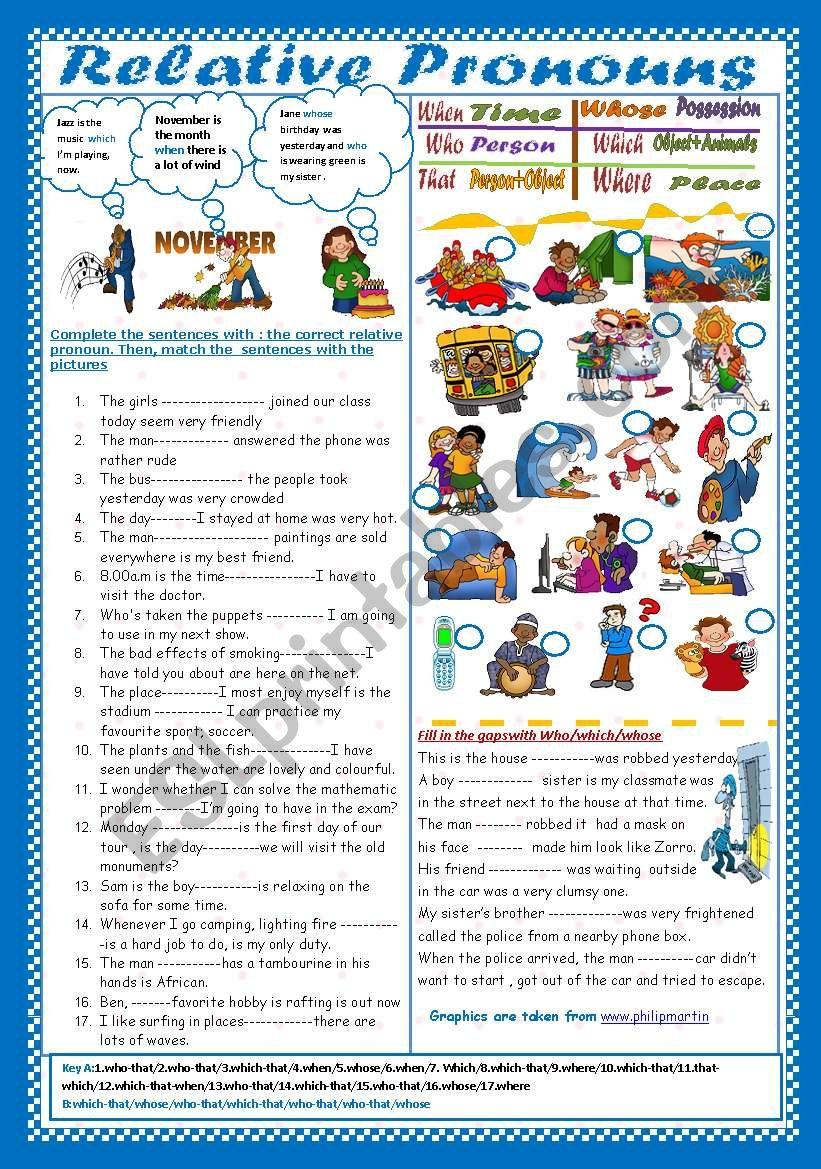 Relative Pronouns(+ Key) worksheet
