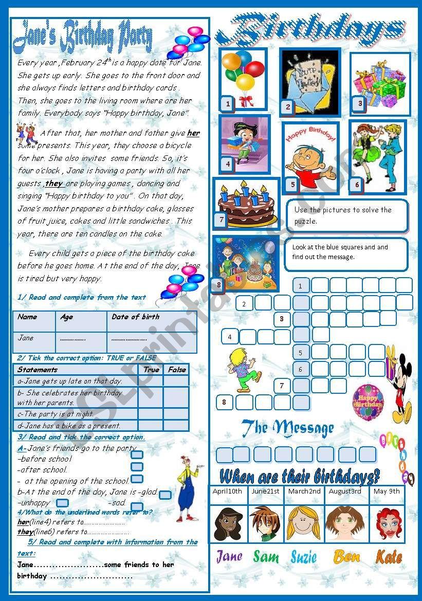 Birthdays(+Key) worksheet