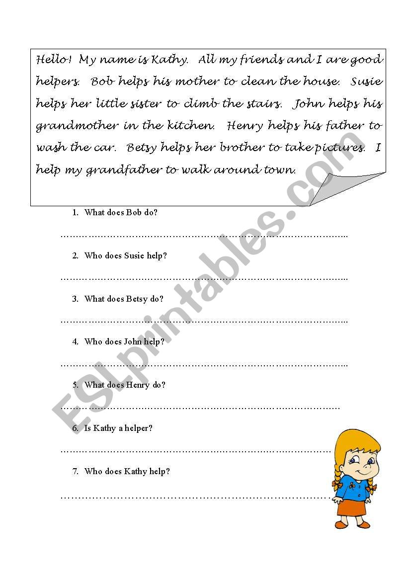 - SIMPLE READING COMPREHENSION - ESL Worksheet By Kitcatsullivan