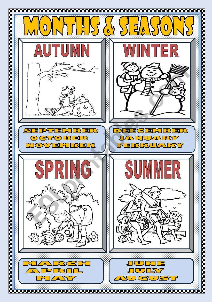 MONTHS and SEASONS POSTER worksheet