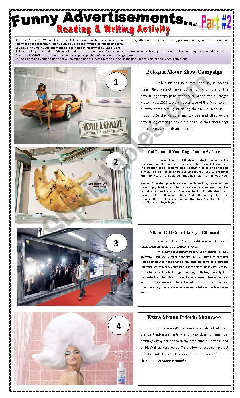 10 FUNNY ADVERTISEMENTS - (4 pages - Part 2 of 2) Writing + Describing Pictures + 6 Activities and instructions