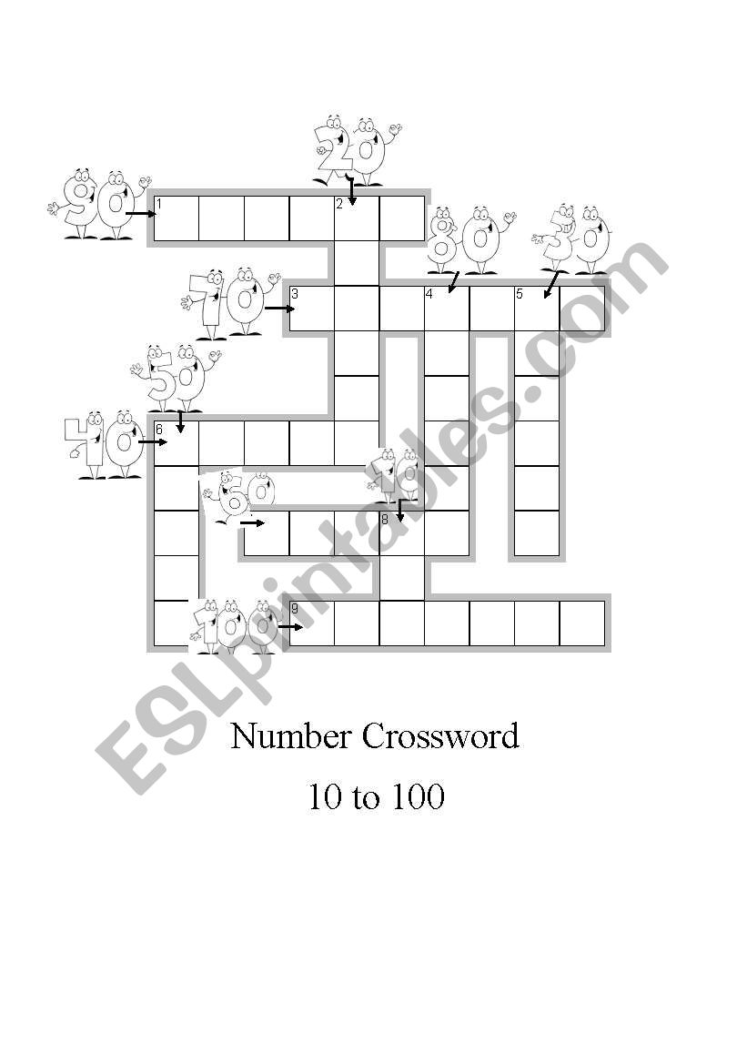 Number crossword 10 to 100 worksheet