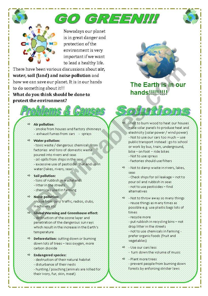 Go Green!!! Help save our planet!!!