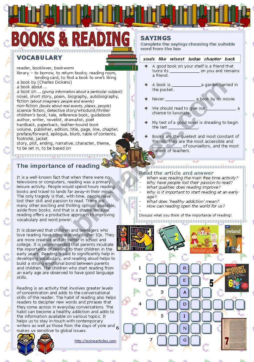 Books & reading worksheet