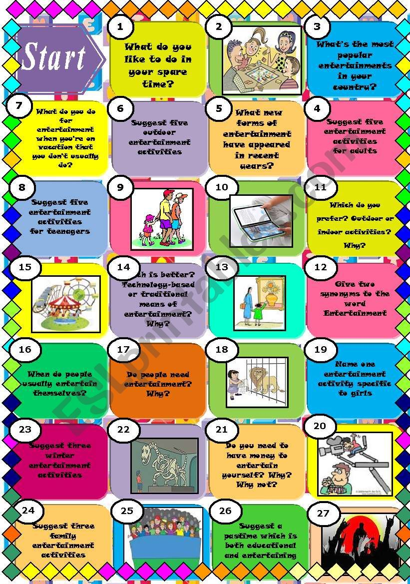 Entertainment board game (2pages)/ 50 squares