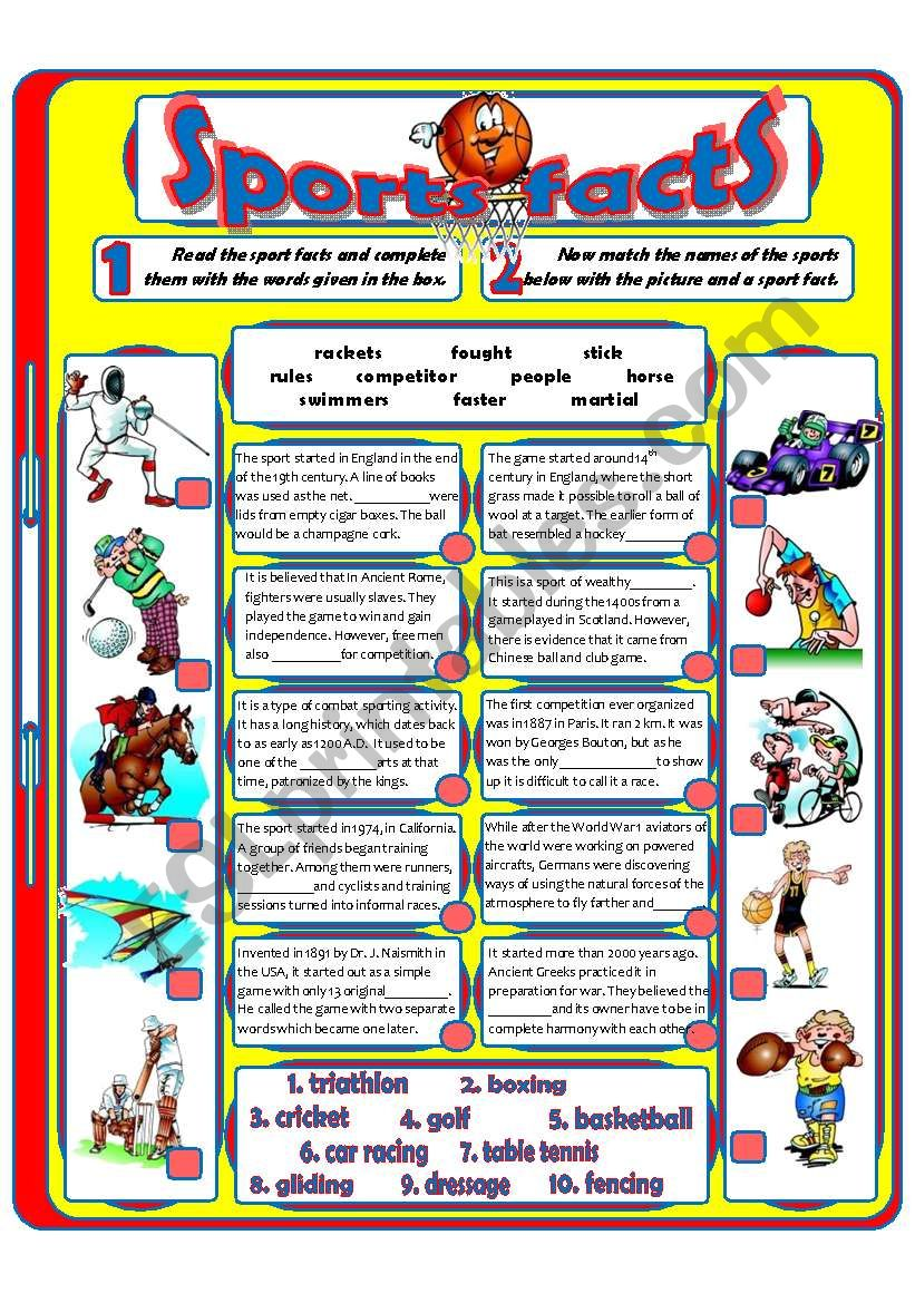 Sports Facts (2) worksheet