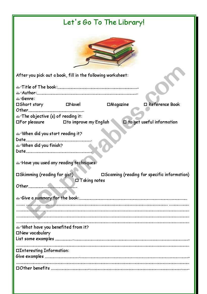Let´s Go To The Library! - ESL worksheet by T-Leila