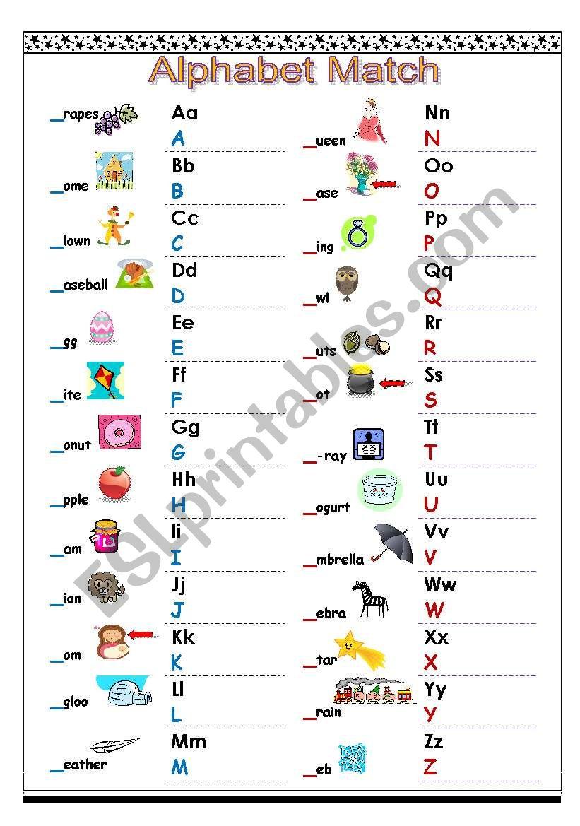 Alphabet Match Esl Worksheet By Hieungoc