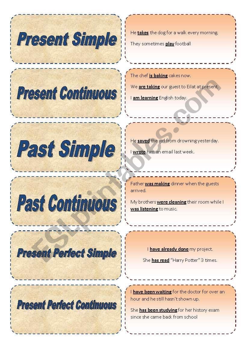 Tenses Memory Game worksheet