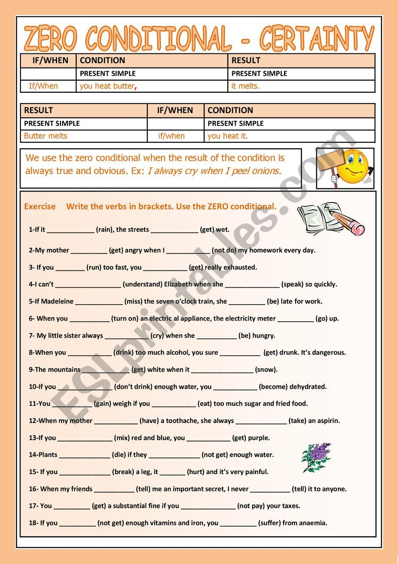 CONDITIONAL ZERO worksheet