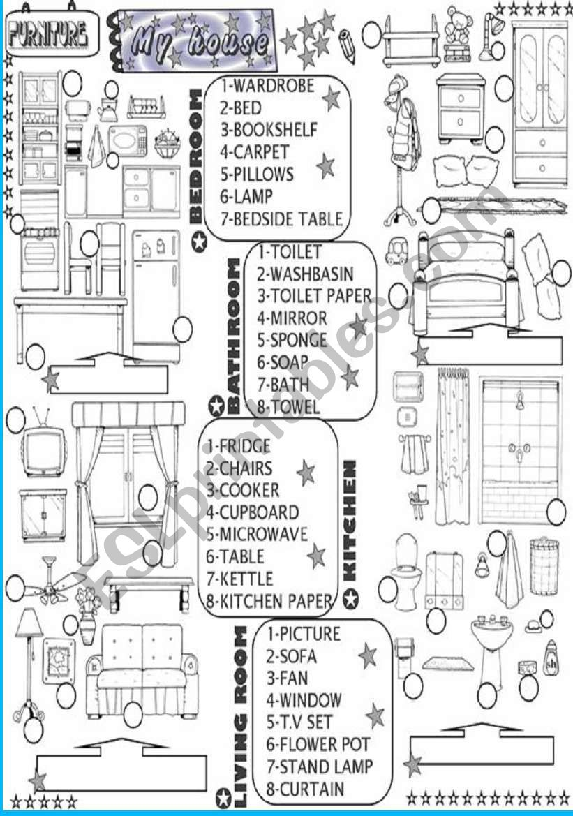 the house:pieces of furniture worksheet