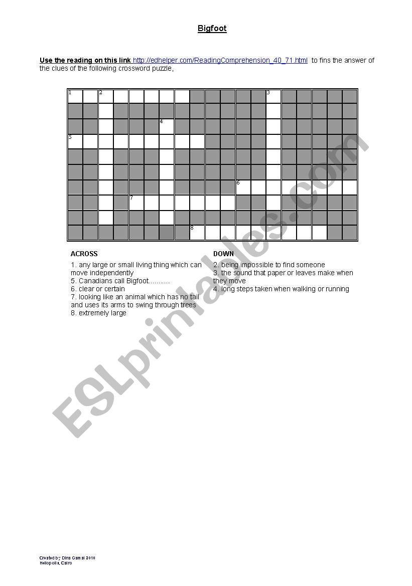Bigfoot crossword worksheet