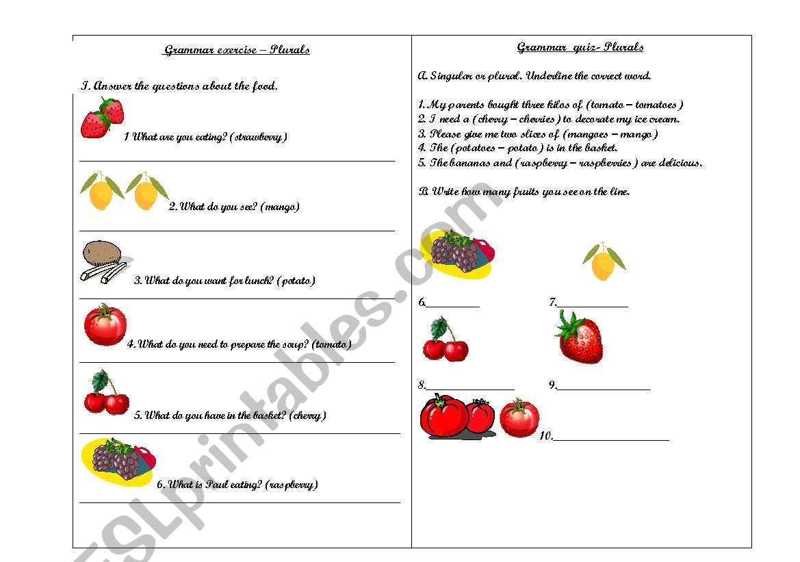 Exercise and quiz of plurals worksheet