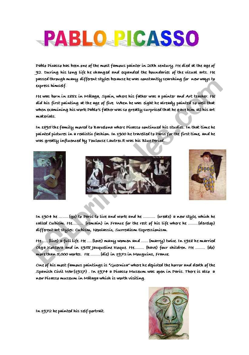 Biography:Pablo Picasso worksheet