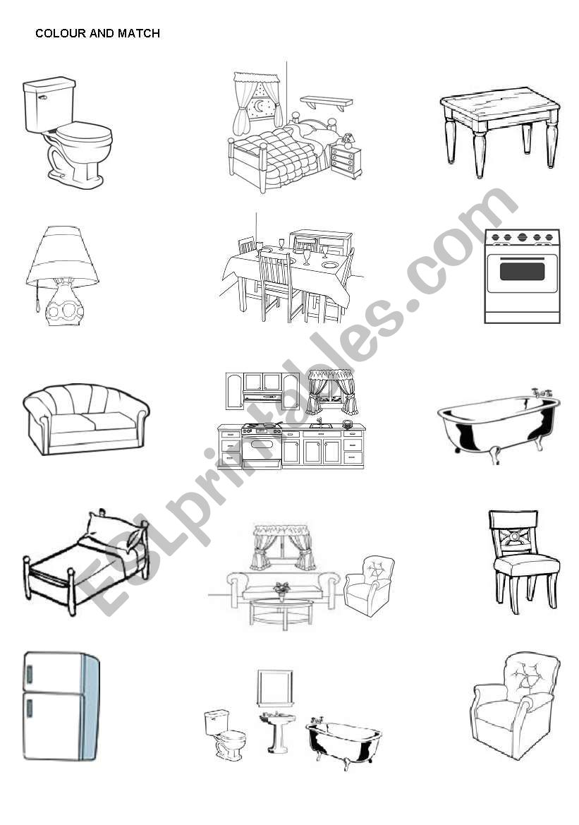 Color the furniture and match the furniture with the rooms in the house